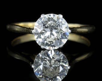 Antique Victorian Diamond Solitaire Ring 1.60ct