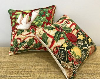 PAIR of Square Pin Cushions. Christmas Fabric. 11cm. Sewing gifts. Pins and Needles