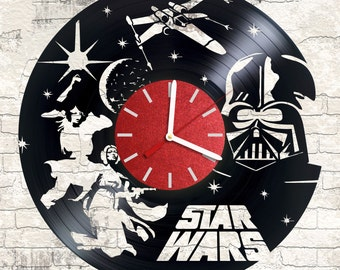 Vinyl wall clock Star Wars Space