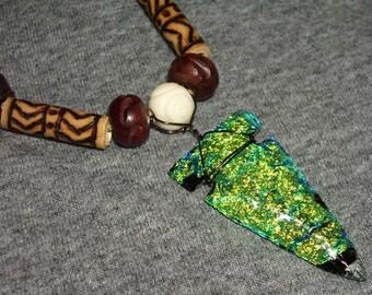 Dichroic Glass Arrowhead Necklace