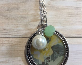 Yellow Flower and Pearl Necklace