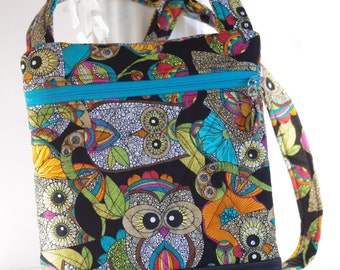 Owl cross body owls quilted shoulder bag purse with synthetic vinyl bottom