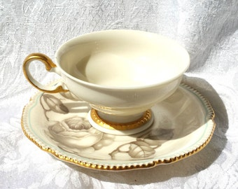 Castleton China Footed Tea Cup and Saucer, Castleton Gloria China cup and saucer Ivory Tea cup, Gray Rose cup and saucer
