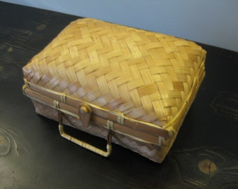 "Woven Straw ""Lunchbox"" Basket / Suitcase-style Basket / Decorative Kitchen Basket"