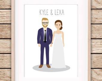 Custom illustration portrait, couple/family drawing, personalized illustration