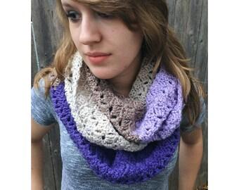 Crochet Infinity Scarf, Crochet Cowl, Crochet Scarf, Women's Scarf, Long Crochet Infinity Scarf, Caron Cake Yarn    Crochet Infinity Scarf