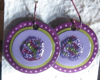 sparkly*purple*paper*earrings
