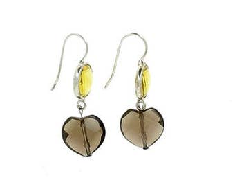 Earrings smoky quartz and yellow cristal