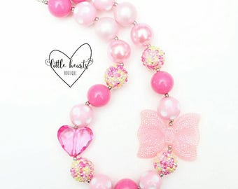 Pink & Yellow Chunky bubblegum necklace