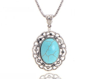 Tibetan Silver Turquoise Pendant Necklace, Turquoise Necklace, Valentines Day Gift for Her, Birthday Necklace