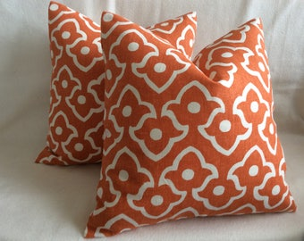 "Pair of Designer Pillow Covers - Lee Jofa ""Fez"" Fabric - Tangerine Orange/ Off White - Cotton/ Linen - 18x18 Covers"