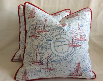 Nautical Indoor/ Outdoor Pillow Covers - Robert Allen Nautical Print Fabric - Red/ White/ Blue - Custom Piping - 18x18 Covers