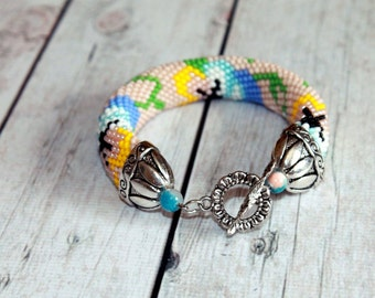 Bead crochet bracelet Flower bracelet  Romantic bracelet  Charm bracelet Pansy bracelet Vintage bracelet Bridesmaid gift Flower girl gift