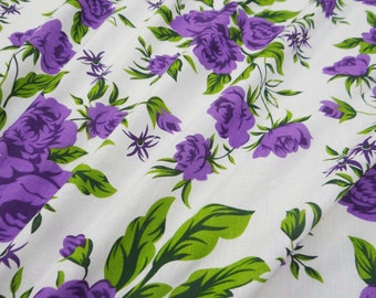 """Decorative Cotton Fabric For Sewing Designer 100% Cotton White 41"""" Wide Floral Printed Non-Transparent Designer Fabric By 1 Yard ZBC6385"""