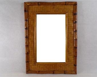 vintage 60s bamboo mirror france vintage home decor rattan wicker vintagefr bamboo rattan mirror