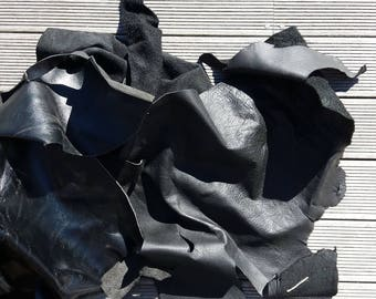2kg Black Leather Pieces for craft, purses, jewellery making or leather work - 1.5mm thick