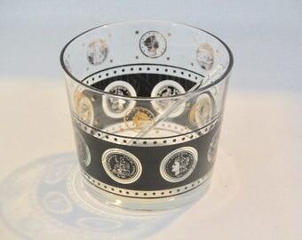 SALE! Vintage Madmen Style Coin Ice Bucket Black & Gold