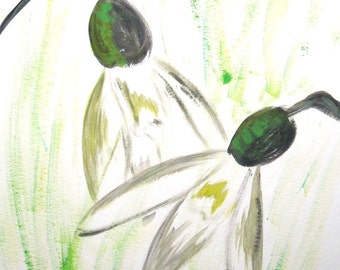"""Original painting with acrylic """"Two Snowdrops"""""""