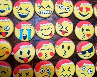Santa christmas emoji cookies (12)