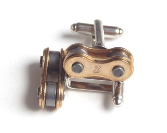 Bike Bicycle Chain Cufflinks Cuff Links Gold Tone  By ReCycle And BiCycle Cycling Gift