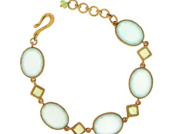 Chalcedony and Peridot Station Bracelet