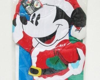 "Santa Mickey Mouse Disney Christmas Tufted 3D Windsock 55"" Flag NCE 1996"