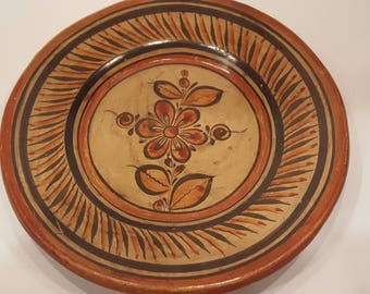 Mexican Folk Art Burnished Tonala Plate of Flower