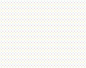 Girl Swiss Dots on White by Riley Blake Designs - Pastel Polka Dot - Quilting Cotton Fabric - by the yard fat quarter half