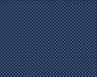 White on Navy Swiss Dots by Riley Blake Designs - Blue Polka Dot - Quilting Cotton Fabric - by the yard fat quarter half