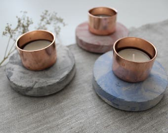 Copper Concrete marble tealight candle holder