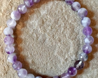 Dream Amethyst 6mm faceted semi precious gemstone bracelet crystal protection healing spiritual