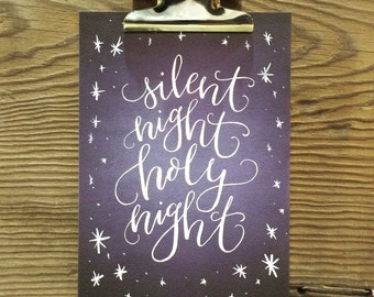 Silent Night, Christmas Art Print, Hand Lettered Holiday, Merry & Bright, Baby It's Cold, Let It Snow, Holiday Quotes, Watercolor, Art Gift