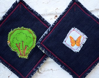 Quilted pot holders, Quilted denim oven mitts, Oven mitt set, Pot Holders, Cotton pot holders, Set of pot holders,  Cotton oven mitts