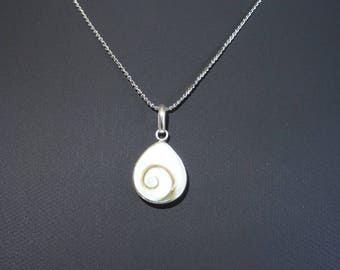 St. Lucia eye or eye of Shiva, silver necklace