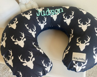 Navy Deer Head Nursing Pillow Cover, Navy Boppy Cover, Deer Head Boppy Cover, Deer Boppy, Baby Shower Gift