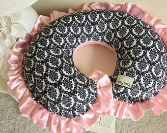 Black and White Nursing Pillow Cover, Damask Boppy Cover, Minky Boppy Cover, Black and white with Baby Pink Nursing Pillow Cover