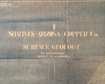 Antique Shattuck Arizona Copper Co Blueprints - Lot of 6 Prints - Mine - James J. Hill Estate - 1920s?