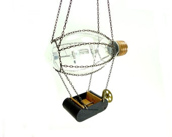 Steampunk Dirigible - Vintage Light Bulb - Steam Punk Art - Airship