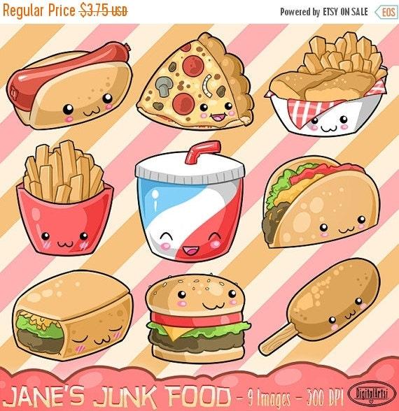 50% OFF Kawaii Junk Food Clipart Cute Fast Food by ...