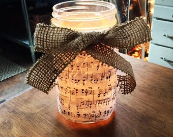 Music sheet mason jar candles