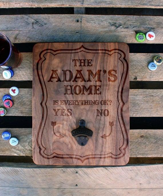custom wood bottle opener board custom beer bottle by etchey. Black Bedroom Furniture Sets. Home Design Ideas