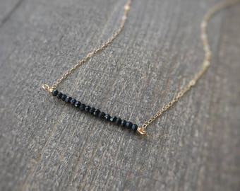 14k gold filled sterling silver faceted black spinel bead bar necklace / bridesmaid necklace / dainty necklace / minimalist / statement