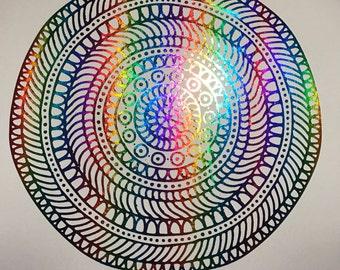 Rainbow Mandala Art Foil Print