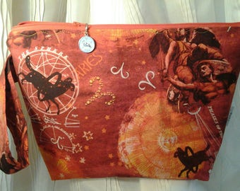 Aries Sock bag, Aries DPN, Aries Zippered bag, Wedge Zodiac bag, Project bag Zodiac, Crochet Aries bag