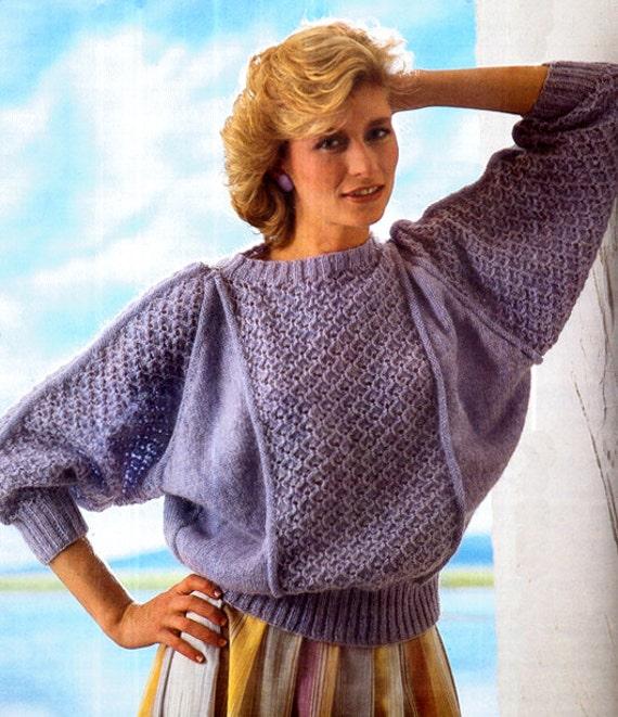 Batwing Knitting Pattern : PDF Vintage 1980s Ladies Batwing Sweater Knitting Pattern