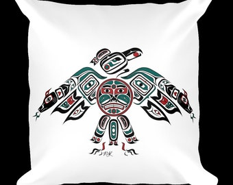 "Custom Pillow - Haida, Tlingit Thunderbird, Native American, First Nations, Pacific Northwest Coast Art 18x18 Pillow. ""Thunderbird"""