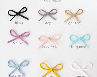 Mini Hair bowSuede Baby Bow Headband / baby headband / baby girl hair bow /