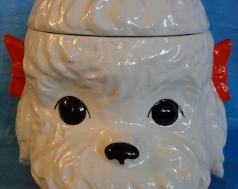 Vintage Dog Cookie Jar ~ White Puppy Lidded Jar ~ Dog Treat Jar ~ Poodle ~ Canine Collectible ~ Large Ceramic Dog