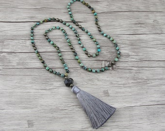 African Turquoise necklace Gemstone bead necklace Boho tassel necklace long bead necklace Natural stone bead necklace boho necklace NL-020