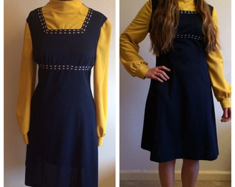 Genuine 60s vintage YELLOW & navy pinafore style dress